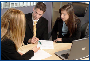 Business Meeting going over an application only program and forms