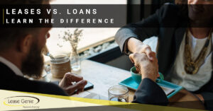 Man and a woman shaking hands at a coffee shop. | Lease vs Loans